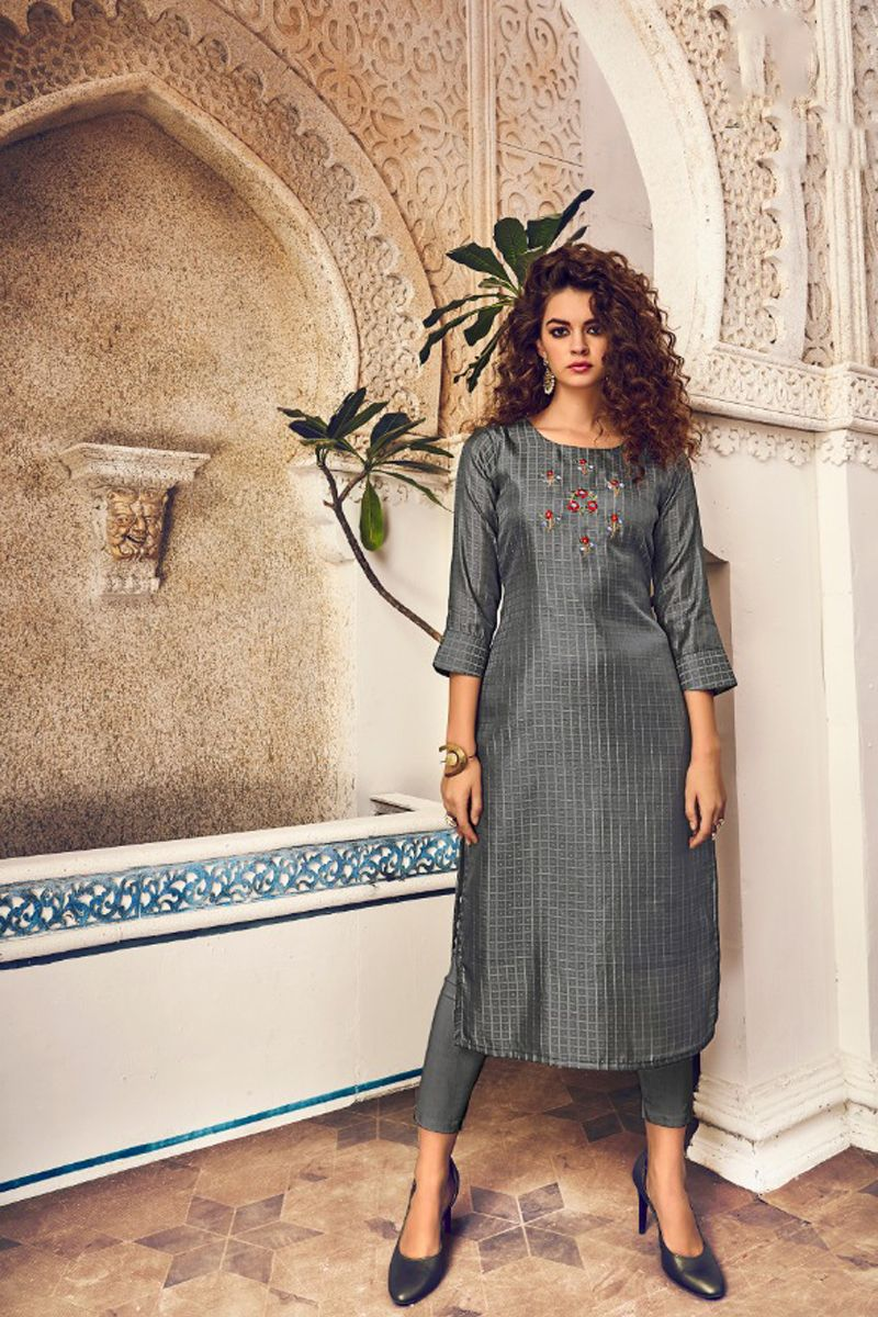Wholesale Rate Collection Wholesale Rayon Knee Length Embroidered Stylish Kurti With Cigarette Pant Collection
