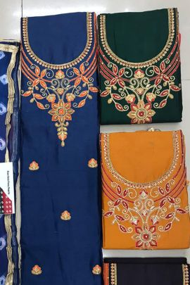 A Bunch Cambric Cotton Printed Event Wear Dress Material With Dupatta Set