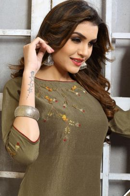 A Bunch Of Chinon Hand Work Event Wear Knee Length Kurti Collection