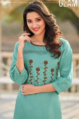 A Bunch Of Cotton Embroidered Event Wear Knee Length Kurti Collection