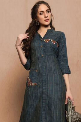 A Bunch Of Cotton Embroidered Stylish Knee Length Kurti Colleciton