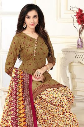 A Bunch Of Cotton Printed Daily Wear Punjabi Style Patiyala Suit With Dupatta Set