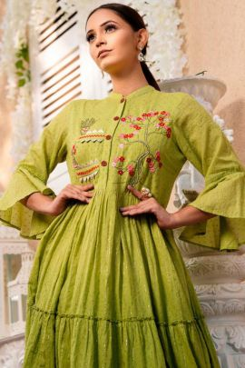 A Bunch Of Festival Wear Cotton Embroidery Work Gown Psyna Set