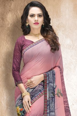 A Bunch Of Georgette Printed Daily Wear Simple Raghav Fashion Saree With Blouse Piece Set