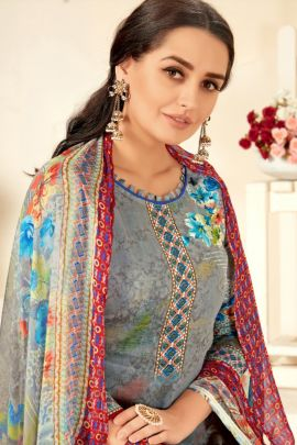 A Bunch Of Jam Cotton Flower Printed Event Wear Alok Suit Dress With Blouse Piece Set