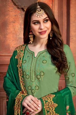 A Bunch Of Jam Satin Embroidered Designer Dress With Dupatta Set