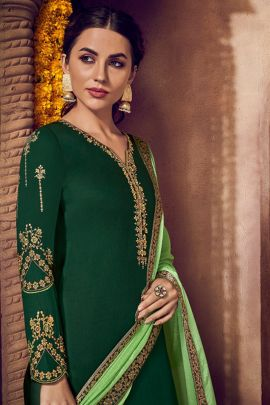 A Bunch Of Jam Silk Embroidered Knee Length Designer Suit With Dupatta Set