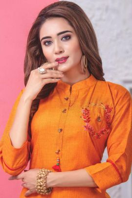 A Bunch Of Rayon 14kg With Embroidery Work Event Wear Kurti With Skirt Set