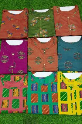 A Bunch Of Rayon Cotton Printed Daily Wear Readymade Kurti Collection