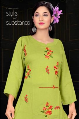 A Bunch Of Rayon Emboridery Work Event Wear Kurti Set