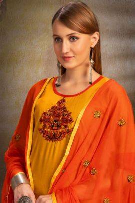 A Bunch Of Rayon Embroidered Readymade Stylish Dress With Dupatta Set