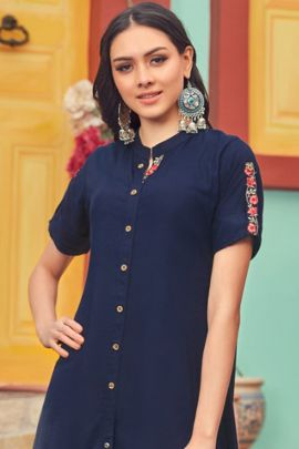 A Bunch Of Rayon Simple Plain Evening Wear Designer Kurti Collection