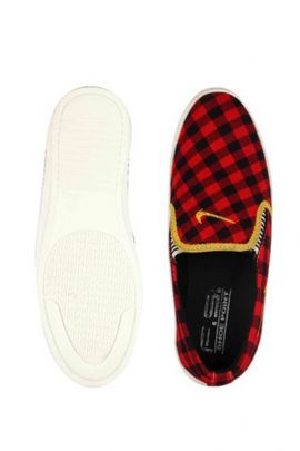 A Bunch Of Red Mens Check Printed Slip On Shoes Set