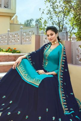A Bunch Of Satin Georgette Embroidered Knee Length Indo Western Suit With Dupatta Set