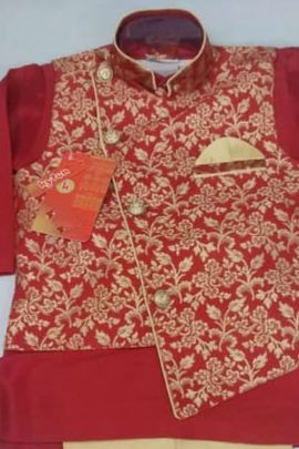 A Bunch Of Silk Printed Event Wear Stylish Boys Kurta Pajam Set