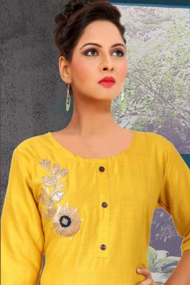 A Bunch Of Stylish Embroidered Evening Wear Kurti With Bottom Set