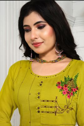 A Bunch Of Stylish Event Wear Embroidered Knee Length Kurti Collection