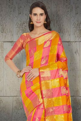 A Bunch Of Stylish Event Wear Silk VND Saree With Blouse Piece Set