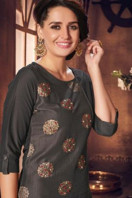 A Bunch Of Stylish Event Wear Weaved Knee Length Kurti With Palazzo Set