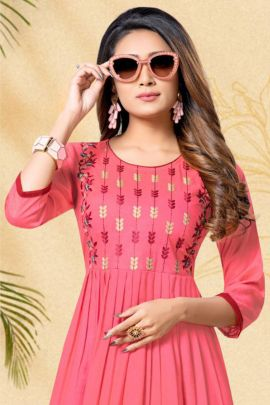 A Pack Of Reyon Slub with Embroydrey Work Event Wear Frock Style Kurti