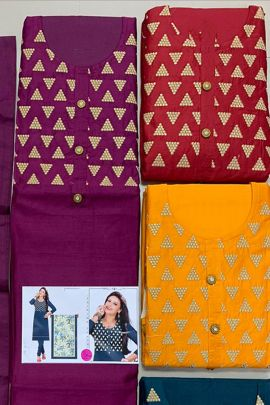 A Pack Of Silk Embroidered Knee Length Dress Material With Dupatta Set