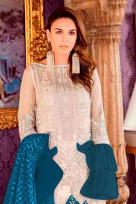 A Set Of 7 Event Wear Net Embroidered Ramsha Pakistani Suit With Dupatta