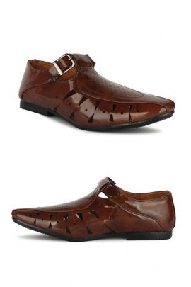 A Set Of Brown Party Wear Mens Leather Sandals Bunch