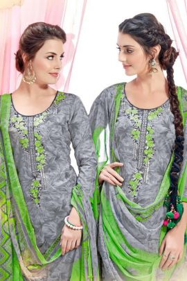 A Set Of Cambric Cotton Embroidered Punjabi Style Sarvada Suit With Dupatta Bunch