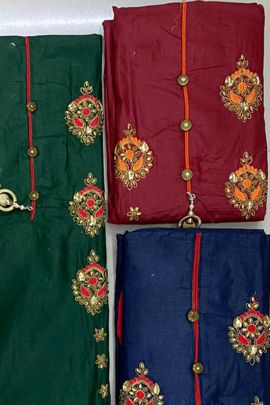 A Set Of Cambric Cotton Printed Event Wear Dress Material With Dupatta Bunch