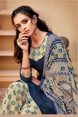 A Set Of Cotton Printed Punjabi Style Patiyala Suit With Dupatta Bunch