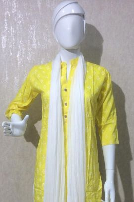 A Set Of Cotton Printed Readymade Knee Length Daily Wear Dress With Dupatta Bunch