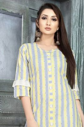 A Set Of Daily Wear Patterned Cotton Kurti By Apple Creation
