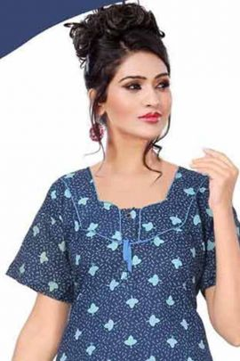 A Set Of Daily Wear Printed Cotton Full Lenght Night Wear By Fashion Talk