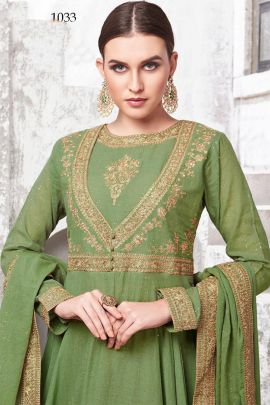 A Set Of Embroidered Evening Wear Full Length Anarkali Suit With Dupatta Bunch