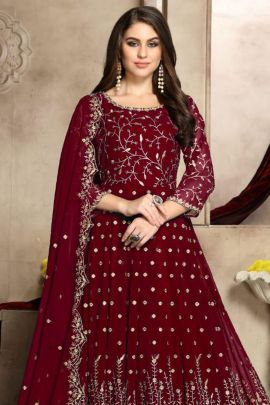 A Set of Georgette Embroidery Party Wear Anarkali With Dupatta