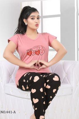 A Set Of Hosiery Cotton Night Wear Short Length Printed Suit Bunch