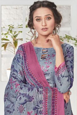 A Set Of Lawn Cotton Embroidery Work Event Wear Dress With Dupatta Bunch