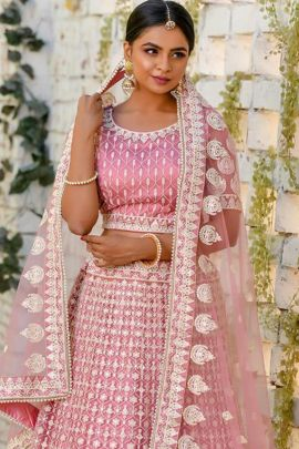 A Set Of Net Designer Wedding Wear Embriodered Lehenga Choli With Dupatta Bunch