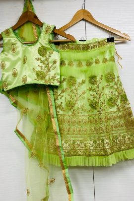 A Set Of Net Embroidery Woek Wedding Wear Kids Wear Lehenga Choli With Dupatta Bunch