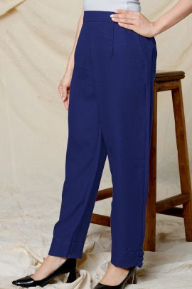 A Set Of Polyester Linen Daily Wear Plain Western Style Pant Bunch