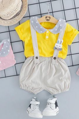 A Set Of Printed Stylish Cotton Girls Jumpsuit