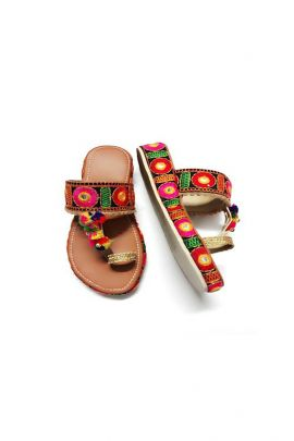 A Set Of Rajasthan Style PU Ladies Jaipuri Slipper Bunch