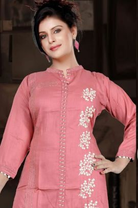 A Set Of Rayon Embroidered Knee Length Stree Lifestyle Kurti Bunch