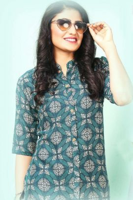 A Set Of Rayon Printed Stylish Short Length Western Wear Tops Bunch
