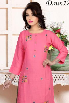 A Set Of Rayon Stylish Embroidered Knee Length Kurti With Plazzo Bunch