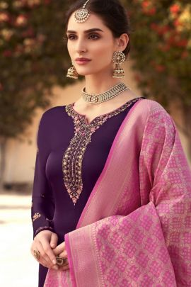 A Set Of Satin Georgette Embroidery Work Evening Wear Dress With Dupatta Bunch