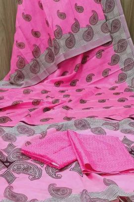 A Set Of Silk Printed Evening Wear Saree With Blouse Piece By Saibaba Textile