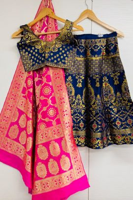 A Set Of Wedding Wear Banarasi Silk Weaved Kids Lehenga Choli With Dupatta