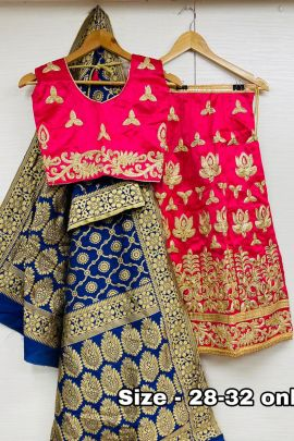 A Set Of Wedding Wear Banglori Silk Embroidery Work Kids Lehenga Choli With Dupatta