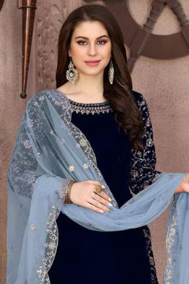 Bulk Event Wear Velvet Embroidered Suit With Net Dupatta By Twisha